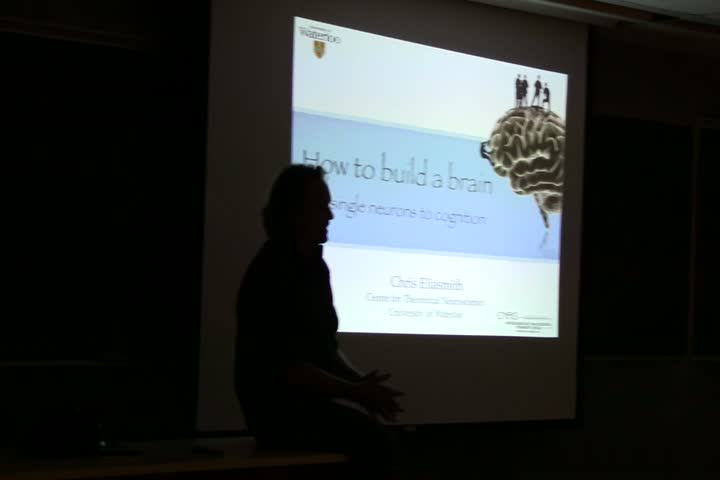 Thumbnail of tech talk by Dr. Chris Eliasmith: How to build a brain: From single neurons to cognition
